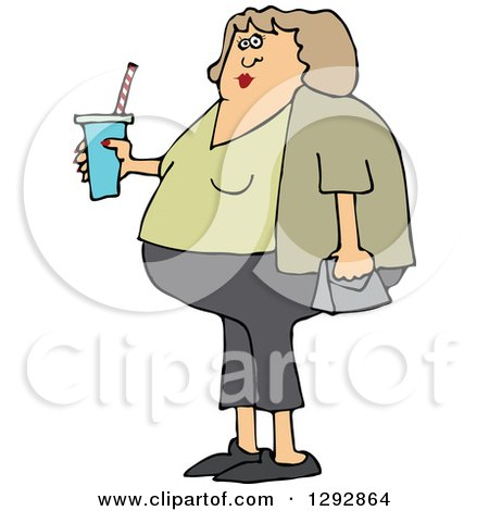 Clipart of a Chubby White Woman in Capris, Holding a Fountain Soda - Royalty Free Vector Illustration by djart