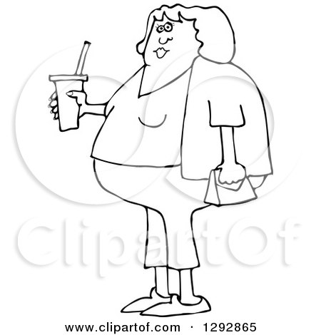 Clipart of a Chubby Black and White Woman in Capris, Holding a Fountain Soda - Royalty Free Vector Illustration by djart