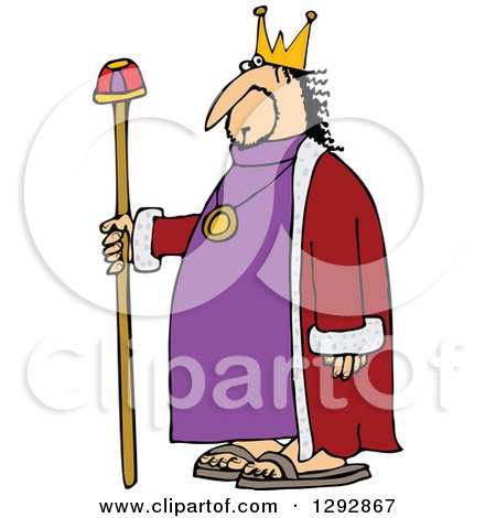 Clipart of a Chubby White Male King with a Robe and Staff - Royalty Free Vector Illustration by djart