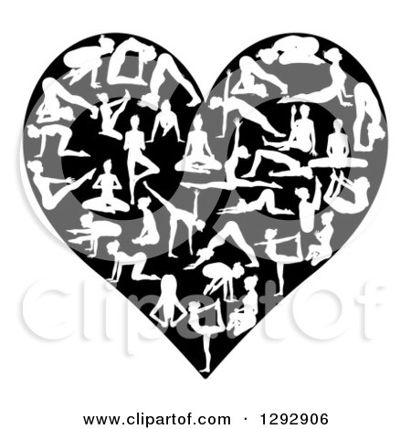 Clipart of a Heart Made of White Silhouetted Yoga and Pilates People on Black - Royalty Free Vector Illustration by AtStockIllustration