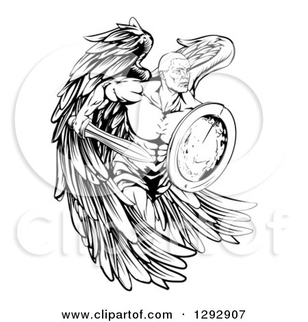 Clipart of a Black and White Muscular Male Guardian Angel Running with a Shield and Sword - Royalty Free Vector Illustration by AtStockIllustration