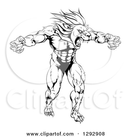 Clipart of a Black and White Muscular Angry Lion Man Roaring with Claws Bared - Royalty Free Vector Illustration by AtStockIllustration