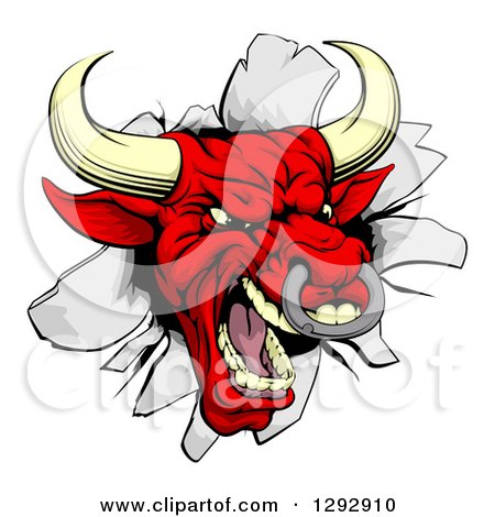 Clipart of a Vicious Snarling Aggressive Red Bull Breaking Through a Wall - Royalty Free Vector Illustration by AtStockIllustration