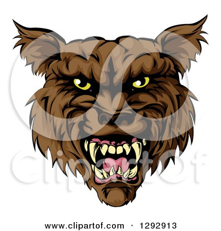 Clipart of a Snarling Vicious Brown Wolf Mascot Head - Royalty Free Vector Illustration by AtStockIllustration