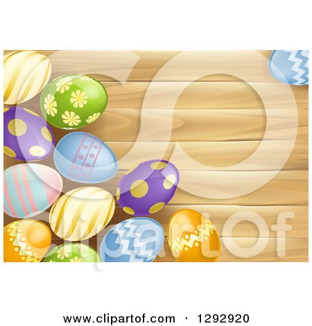 Clipart of 3d Colorful Patterned Easter Eggs over Wood with Text Space - Royalty Free Vector Illustration by AtStockIllustration