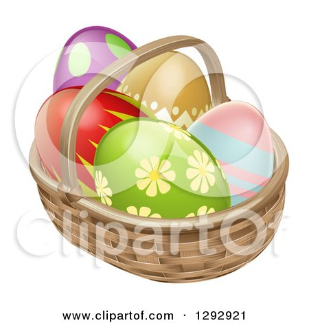 Clipart of 3d Colorful Patterned Easter Eggs in a Basket - Royalty Free Vector Illustration by AtStockIllustration