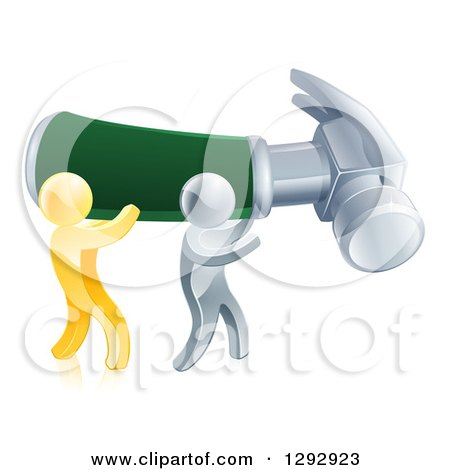 Clipart of 3d Gold and Silver Men Carrying a Giant Hammer - Royalty Free Vector Illustration by AtStockIllustration