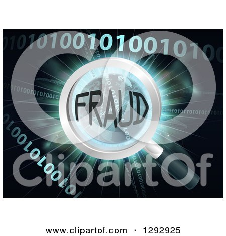 Clipart of a Magnifying Glass Focused on FRAUD over Earth, a Burst and Binary Code - Royalty Free Vector Illustration by AtStockIllustration