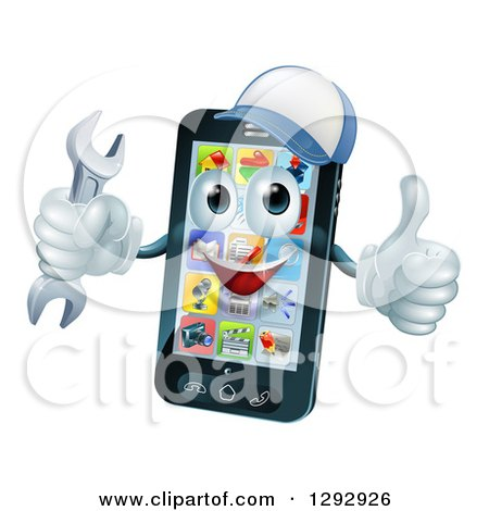 Clipart of a 3d Happy Smart Phone Character Wearing a Baseball Cap, Holding a Thumb up and a Wrench - Royalty Free Vector Illustration by AtStockIllustration