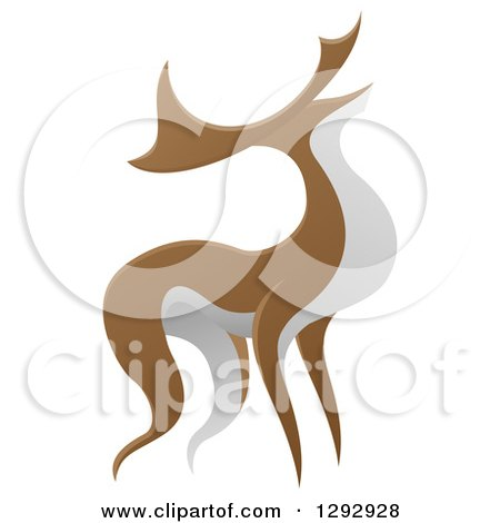 Clipart of an Alert Stag Deer Buck - Royalty Free Vector Illustration by AtStockIllustration