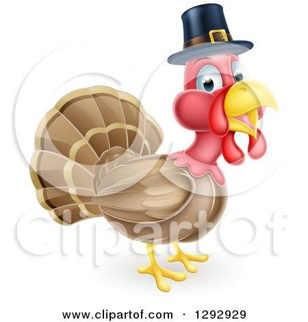 Clipart of a Cute Thanksgiving Turkey Bird Wearing a Pilgrim Hat - Royalty Free Vector Illustration by AtStockIllustration