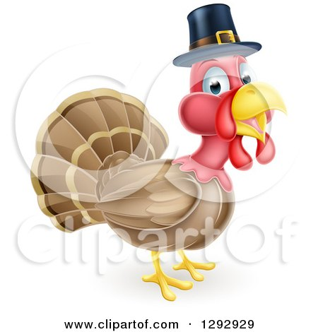 Cute Thanksgiving Turkey Bird Wearing a Pilgrim Hat Posters, Art Prints