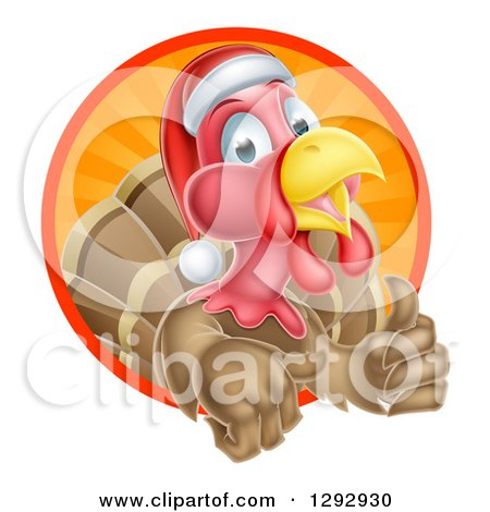 Clipart of a Cute Turkey Bird Wearing a Santa Hat and Giving a Thumb up While Emerging from a Circle of Sunshine - Royalty Free Vector Illustration by AtStockIllustration