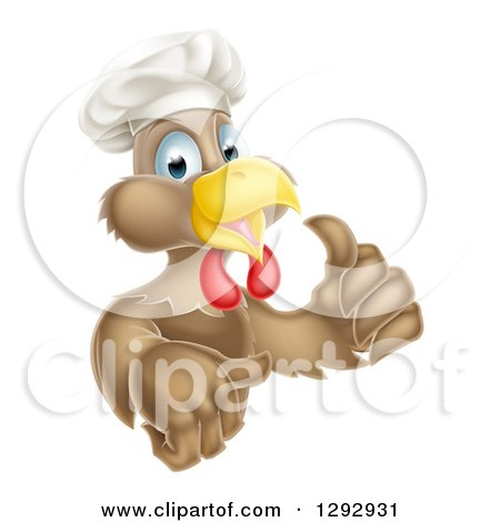 Clipart of a Happy Brown Chef Chicken Giving a Thumb up - Royalty Free Vector Illustration by AtStockIllustration