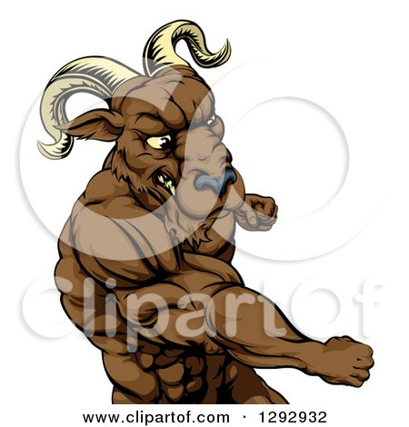 Clipart of a Muscular Tough Angry Ram Man Punching - Royalty Free Vector Illustration by AtStockIllustration