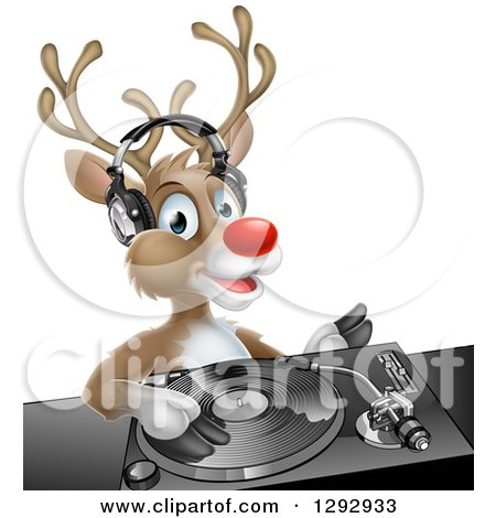 Clipart of a Happy Christmas Rudolph Reindeer Dj Wearing Headphones over a Turntable - Royalty Free Vector Illustration by AtStockIllustration