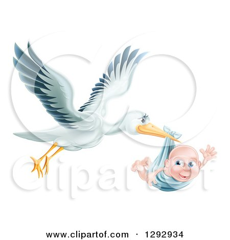 Clipart of a Flying Stork Bird Holding a Happy Baby Boy in a Blue Bundle - Royalty Free Vector Illustration by AtStockIllustration