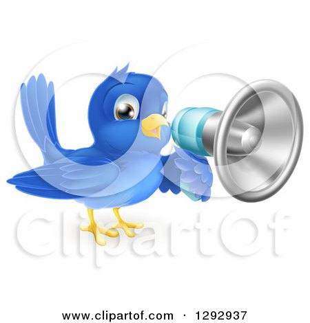 Clipart of a Blue Bird Announcing with a Bullhorn Megaphone - Royalty Free Vector Illustration by AtStockIllustration