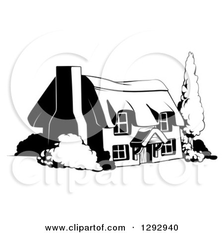Clipart of a Country Cottage House in Black and White - Royalty Free Vector Illustration by AtStockIllustration