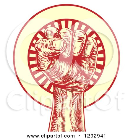 Clipart of a Retro Red and Yellow Engraved Revolutionary Fist over a Circle of Rays - Royalty Free Vector Illustration by AtStockIllustration