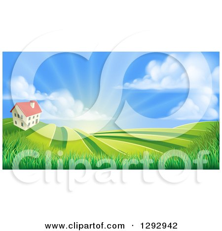Clipart of a Farmhouse Atop a Hill with Fields at Sunrise - Royalty Free Vector Illustration by AtStockIllustration