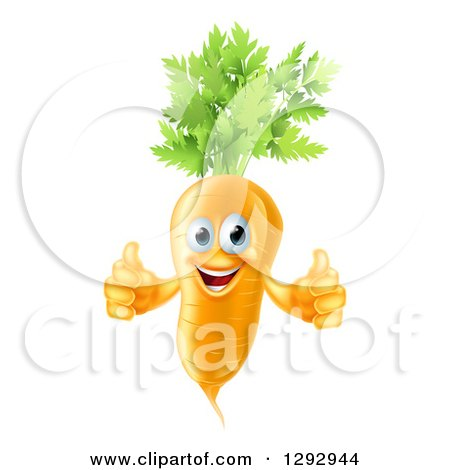 Clipart of a Happy Carrot Vegetable Character Giving Two Thumbs up - Royalty Free Vector Illustration by AtStockIllustration