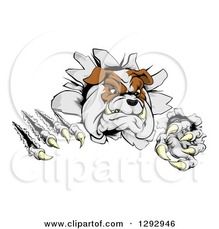 Clipart of a Vicious Tough Bulldog Monster Shredding Through a Wall - Royalty Free Vector Illustration by AtStockIllustration
