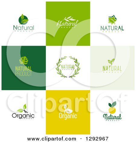 Clipart of Flat Design Natural and Organic Business Logo Icons with Text on Colorful Tiles 3 - Royalty Free Vector Illustration by elena