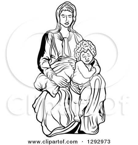 Clipart of a Black and White Virgin Mary with an Angel or Baby Jesus - Royalty Free Vector Illustration by dero
