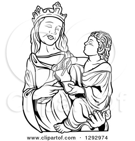 Clipart of a Black and White Virgin Mary Holding Baby Jesus 2 ...