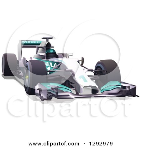Clipart of a White and Turquoise Race Car and Driver - Royalty Free Vector Illustration by dero