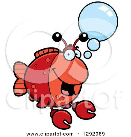 Clipart of a Cartoon Happy Imitation Crab Fish Talking - Royalty Free Vector Illustration by Cory Thoman