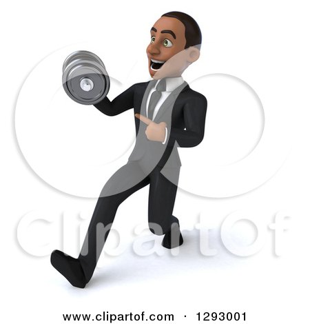 Clipart of a 3d Happy Young Black Businessman Walking and Pointing to a Dumbbell - Royalty Free Illustration by Julos