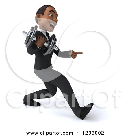 Clipart of a 3d Happy Young Black Businessman Facing Right, Walking with a Dumbbell and Pointing - Royalty Free Illustration by Julos