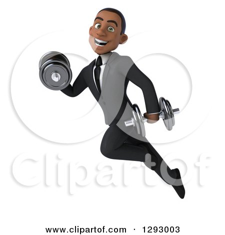 Clipart of a 3d Happy Young Black Businessman Flying with Dumbbells - Royalty Free Illustration by Julos