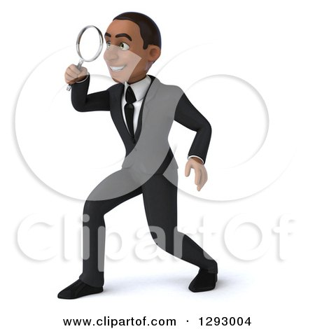 Clipart of a 3d Happy Young Black Businessman Facing Left and Searching Through a Magnifying Glass - Royalty Free Illustration by Julos