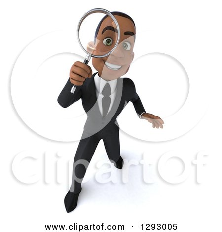 Clipart of a 3d Happy Young Black Businessman Searching and Looking up Through a Magnifying Glass - Royalty Free Illustration by Julos