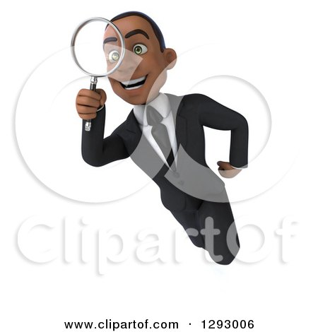Clipart of a 3d Happy Young Black Businessman Flying and Searching Through a Magnifying Glass - Royalty Free Illustration by Julos