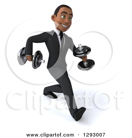 Clipart of a 3d Happy Young Black Businessman Walking with Dumbbells - Royalty Free Illustration by Julos