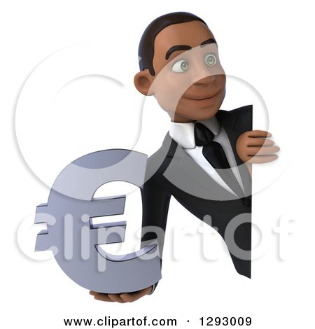 Clipart of a 3d Happy Young Black Businessman Holding a Euro Currency Symbol Around a Sign - Royalty Free Illustration by Julos