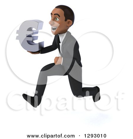 Clipart of a 3d Happy Young Black Businessman Running to the Left with a Euro Currency Symbol - Royalty Free Illustration by Julos