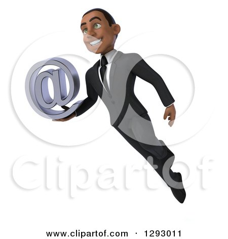 Clipart of a 3d Happy Young Black Businessman Holding an Email Arobase Symbol and Flying - Royalty Free Illustration by Julos