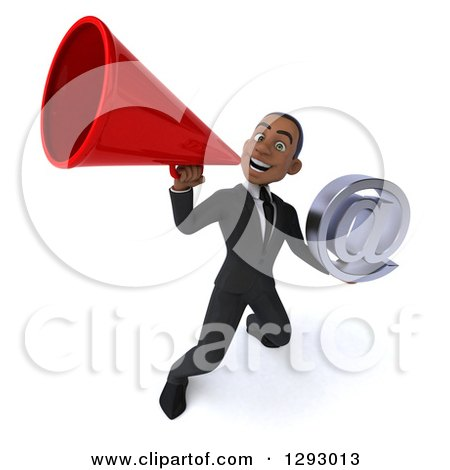 Clipart of a 3d Happy Young Black Businessman Holding an Email Arobase Symbol and Announcing Upwards with a Megaphone - Royalty Free Illustration by Julos