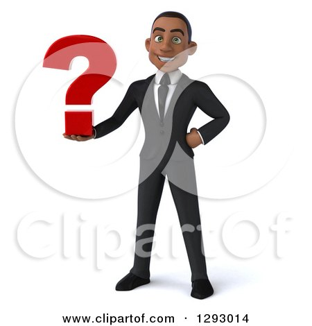 Clipart of a 3d Happy Young Black Businessman Holding a Question Mark - Royalty Free Illustration by Julos