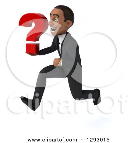 Clipart of a 3d Happy Young Black Businessman Sprinting to the Left with a Question Mark - Royalty Free Illustration by Julos