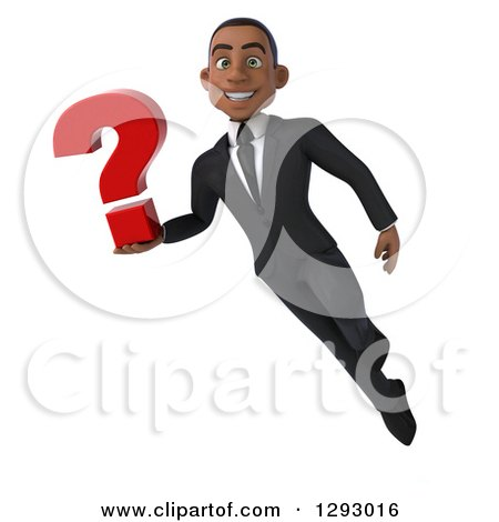 Clipart of a 3d Happy Young Black Businessman Flying and Holding a Question Mark - Royalty Free Illustration by Julos
