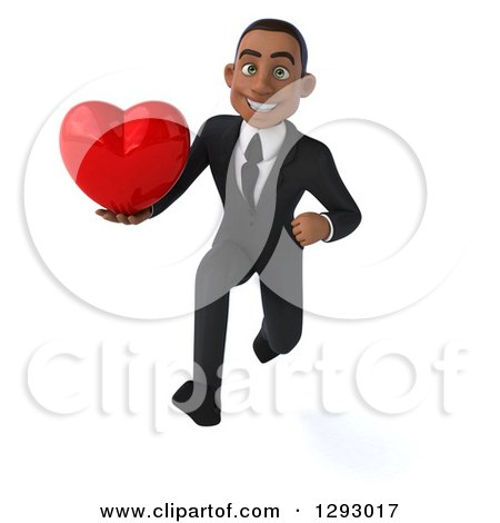 Clipart of a 3d Happy Young Black Businessman Sprinting Forward with a Love Heart - Royalty Free Illustration by Julos