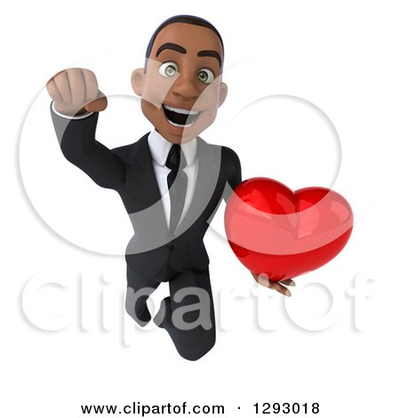 Clipart of a 3d Happy Young Black Businessman Flying Forward with a Love Heart - Royalty Free Illustration by Julos