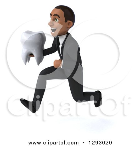 Clipart of a 3d Happy Young Black Businessman Sprinting to the Left with a Tooth - Royalty Free Illustration by Julos