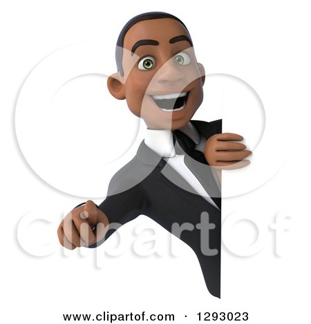 Clipart of a 3d Happy Young Black Businessman Pointing Outwards Around a Sign - Royalty Free Illustration by Julos